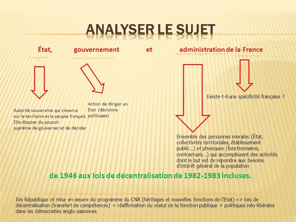 ANALYSER LE SUJET État, gouvernement et administration de la France.