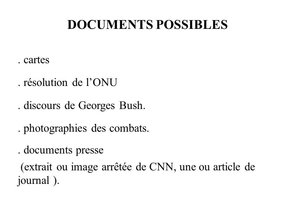 DOCUMENTS POSSIBLES . cartes . résolution de l'ONU
