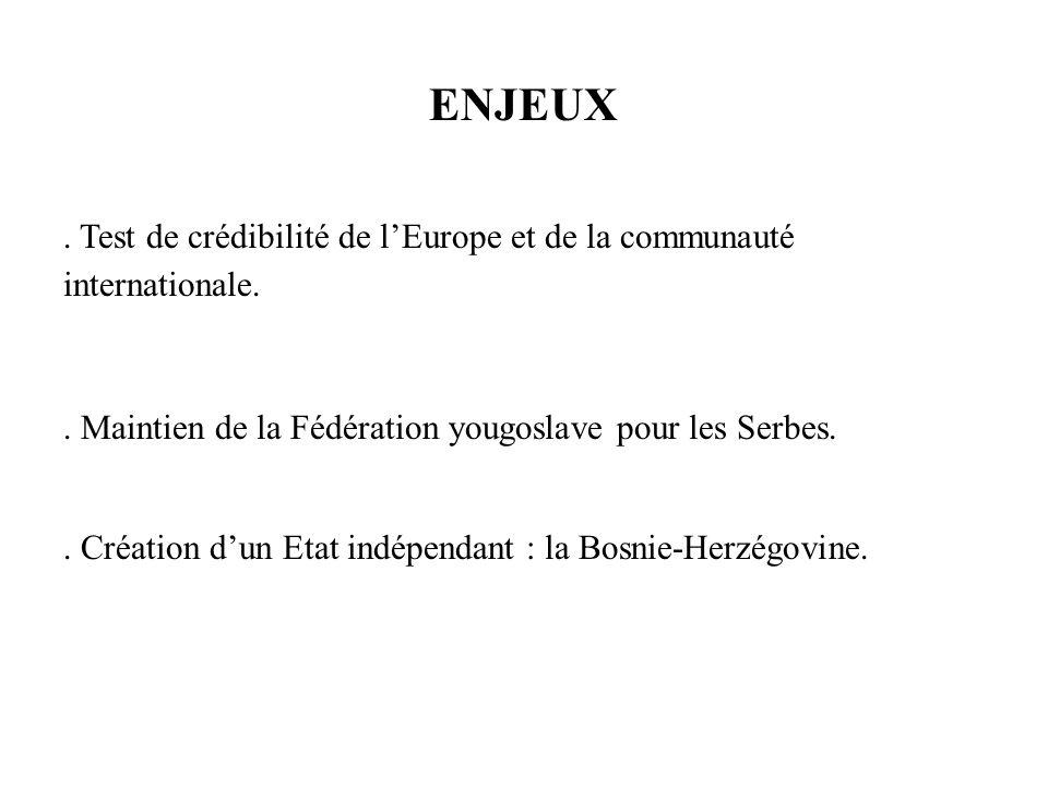 ENJEUX . Test de crédibilité de l'Europe et de la communauté internationale. . Maintien de la Fédération yougoslave pour les Serbes.