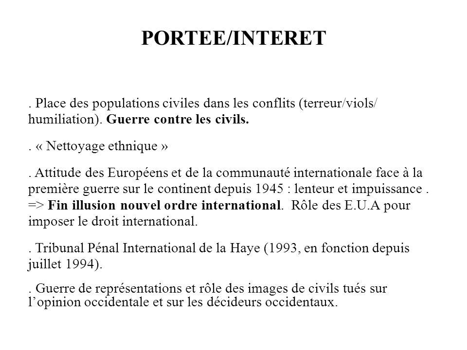 PORTEE/INTERET . Place des populations civiles dans les conflits (terreur/viols/ humiliation). Guerre contre les civils.