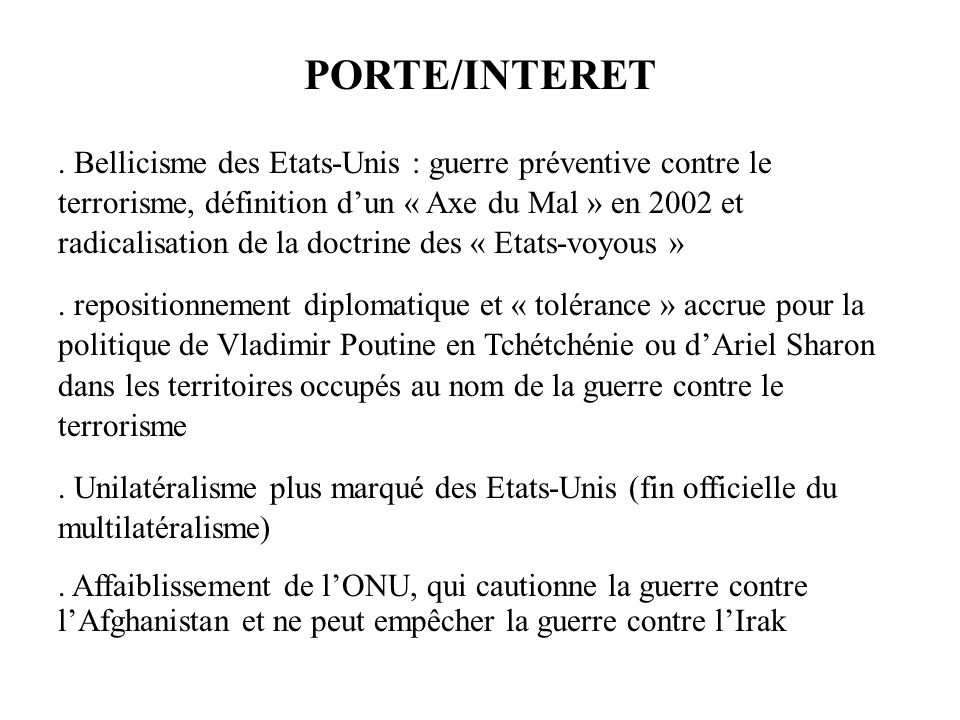 PORTE/INTERET