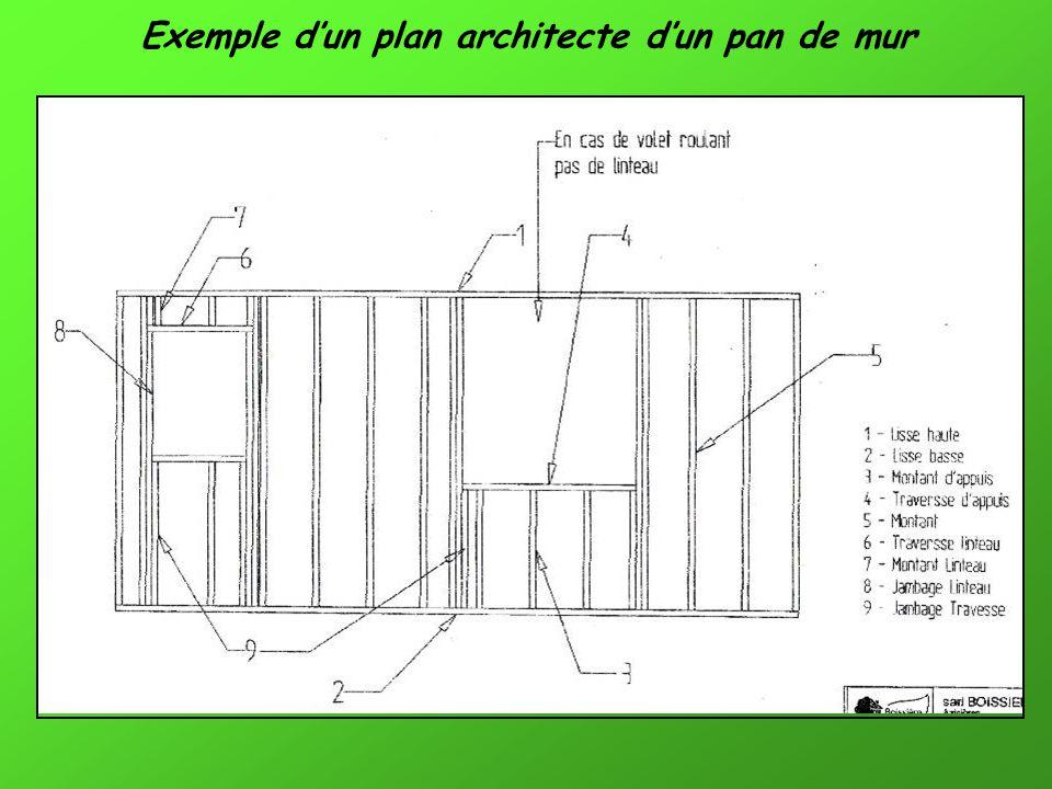 Exemple d'un plan architecte d'un pan de mur