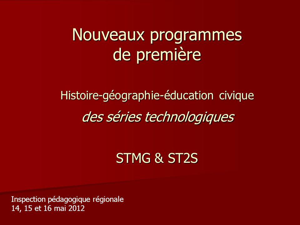 Nouveaux programmes de première Histoire-géographie-éducation civique des séries technologiques STMG & ST2S