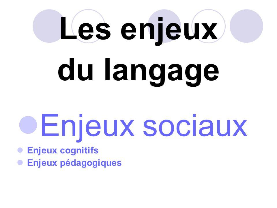Les enjeux du langage Enjeux sociaux Enjeux cognitifs