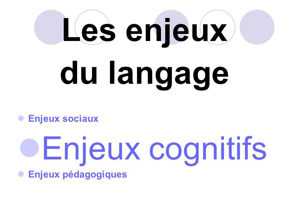 Les enjeux du langage Enjeux cognitifs Enjeux sociaux