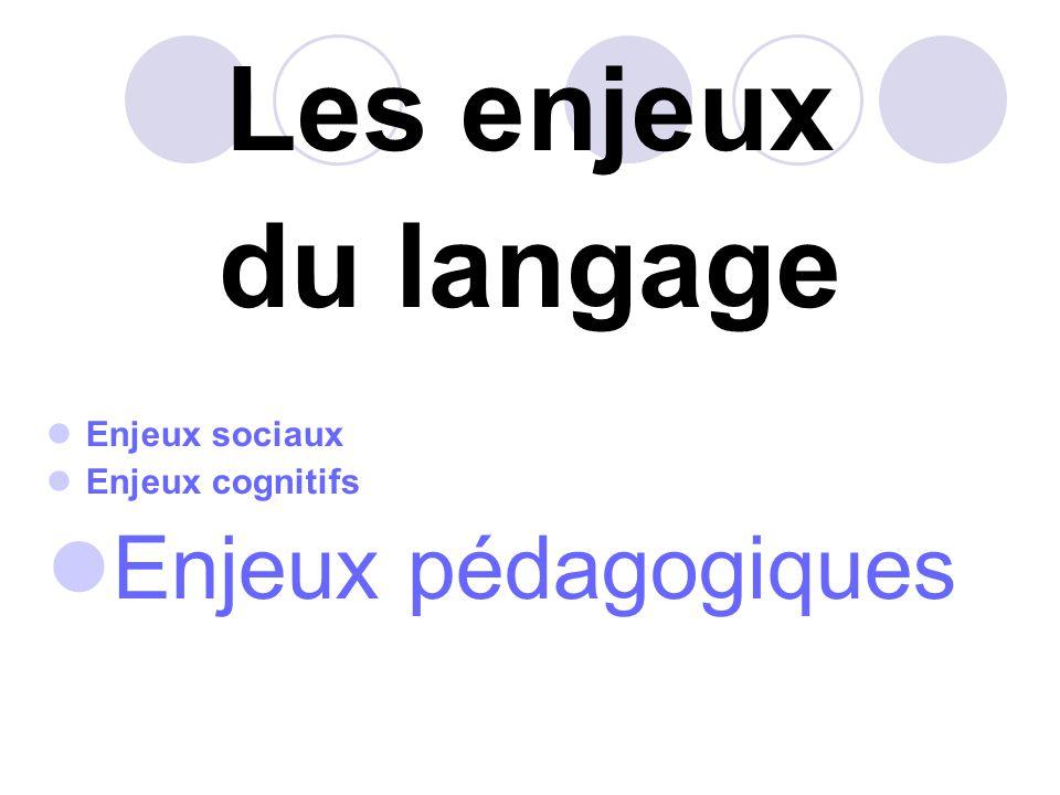 Les enjeux du langage Enjeux pédagogiques Enjeux sociaux