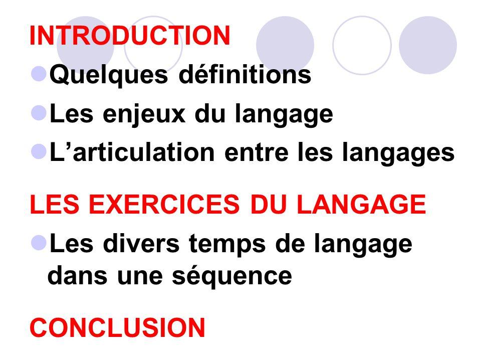 INTRODUCTION Quelques définitions. Les enjeux du langage. L'articulation entre les langages. LES EXERCICES DU LANGAGE.