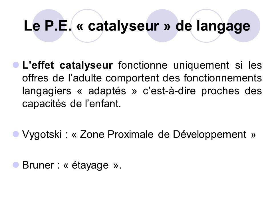 Le P.E. « catalyseur » de langage