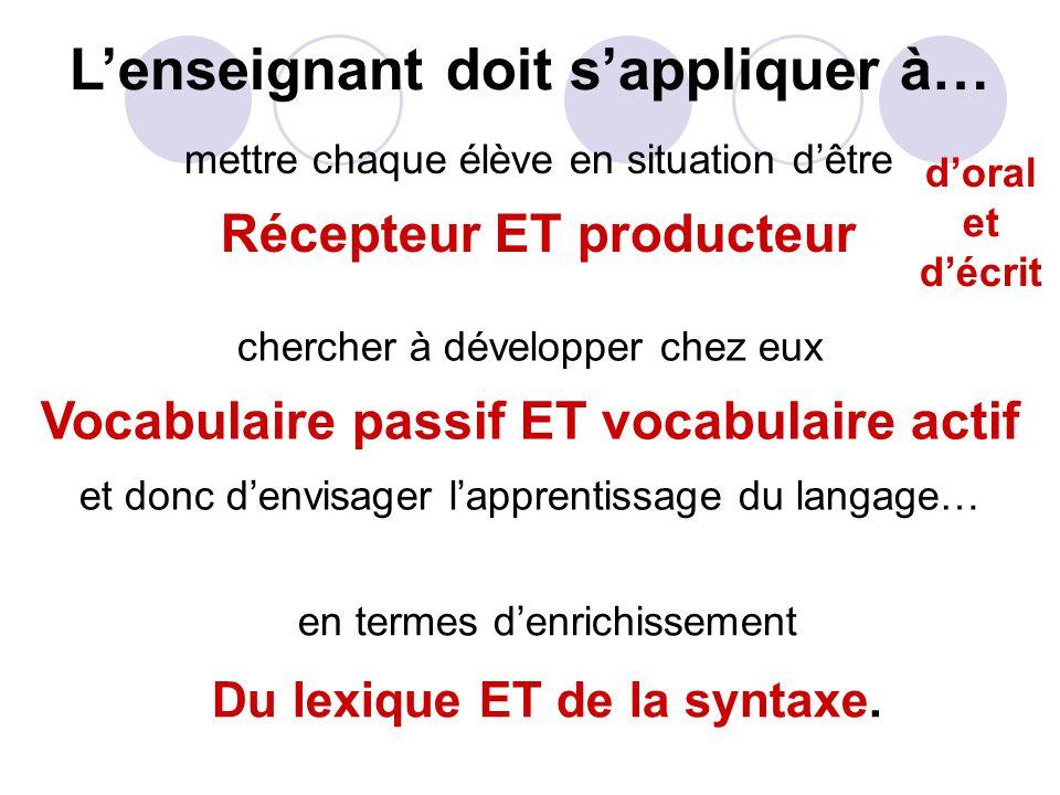 en termes d'enrichissement Du lexique ET de la syntaxe.