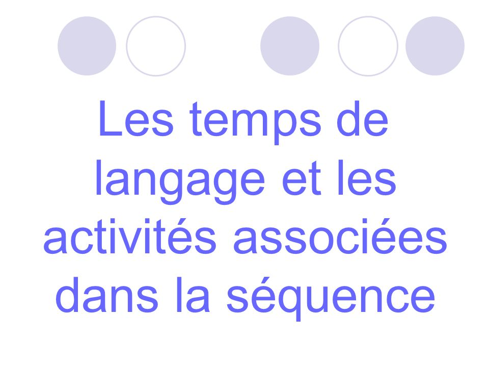 Les temps de langage et les activités associées dans la séquence