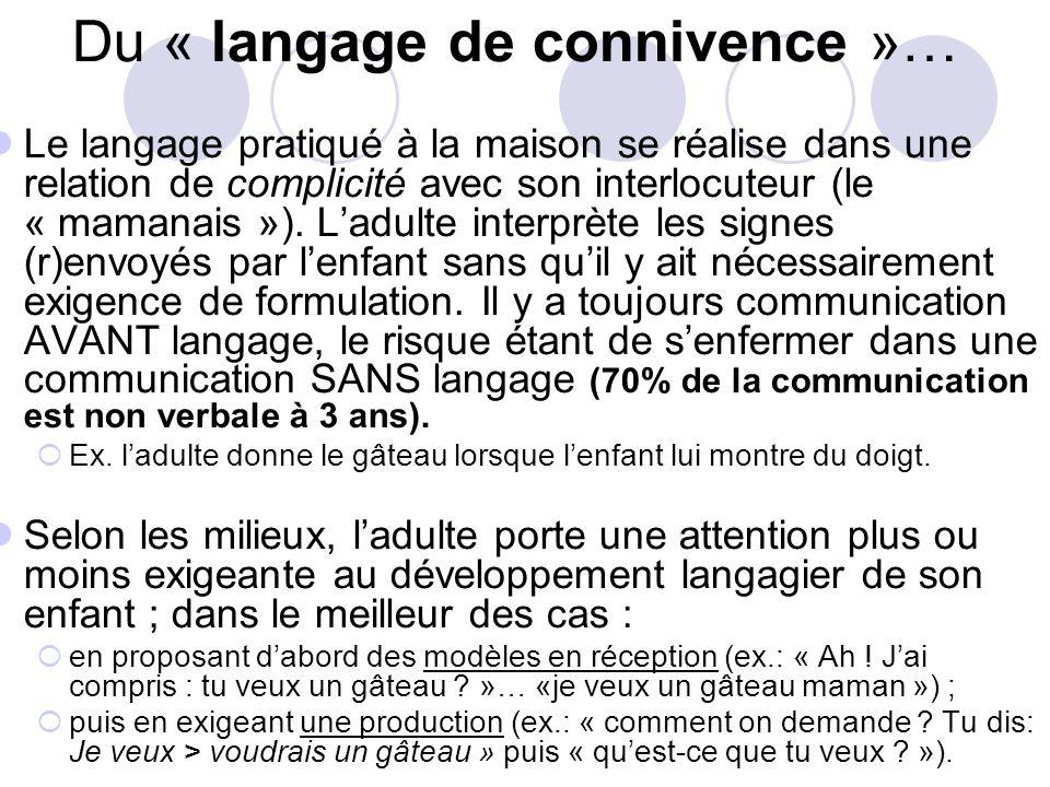 Du « langage de connivence »…