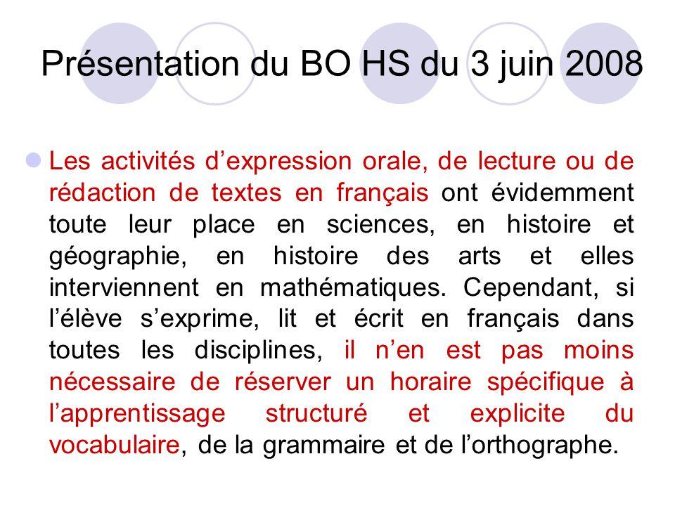 Présentation du BO HS du 3 juin 2008