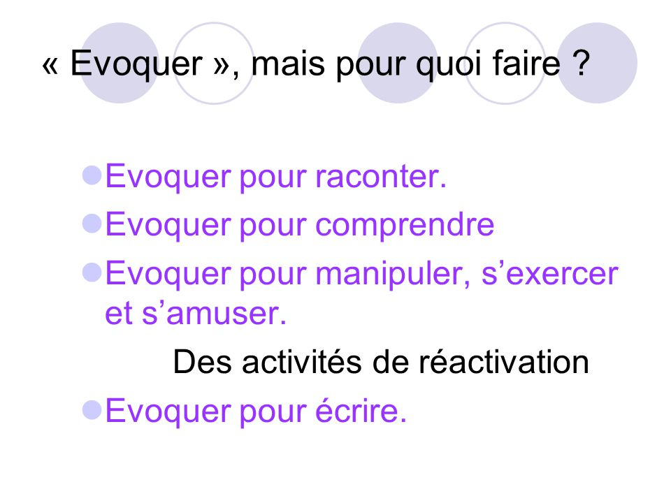 « Evoquer », mais pour quoi faire