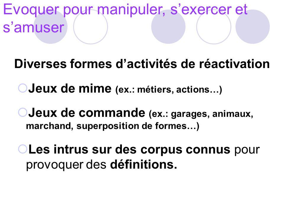 Diverses formes d'activités de réactivation