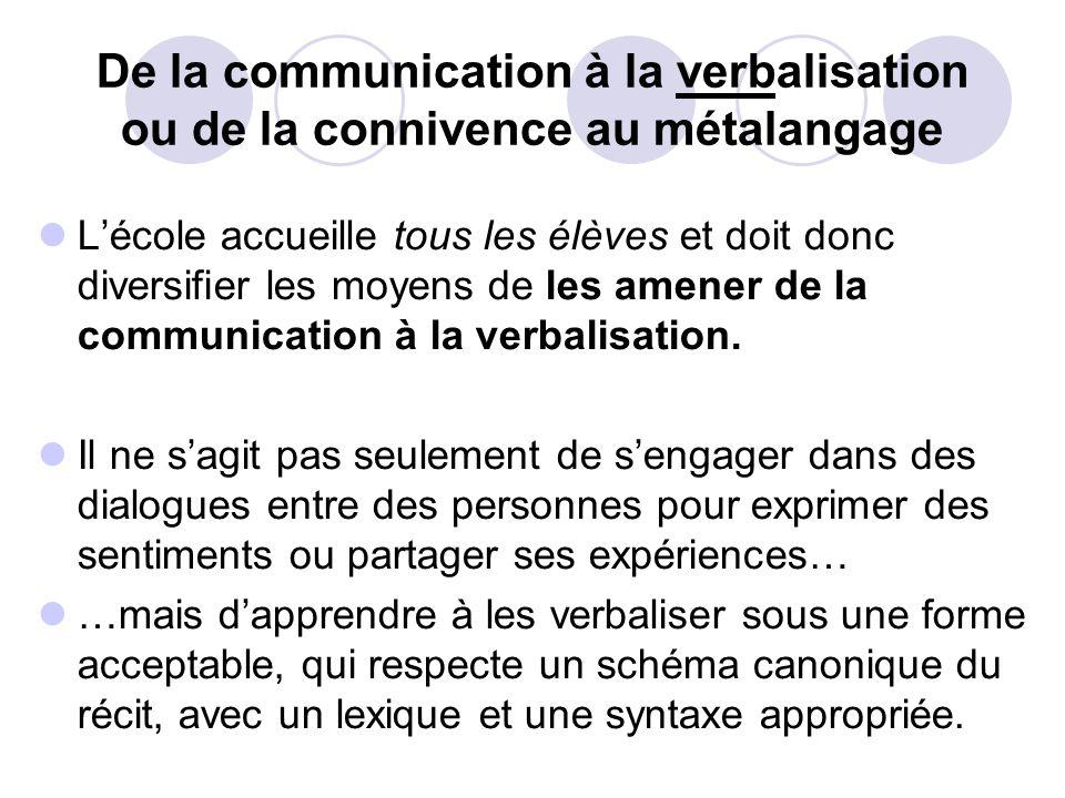 De la communication à la verbalisation ou de la connivence au métalangage