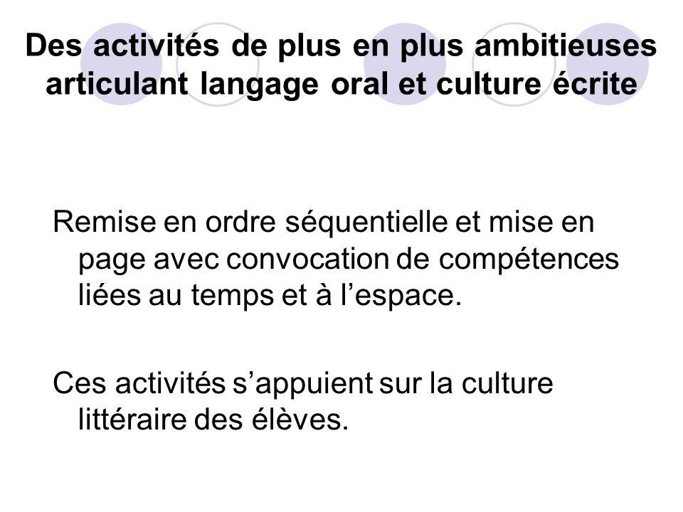 Des activités de plus en plus ambitieuses articulant langage oral et culture écrite
