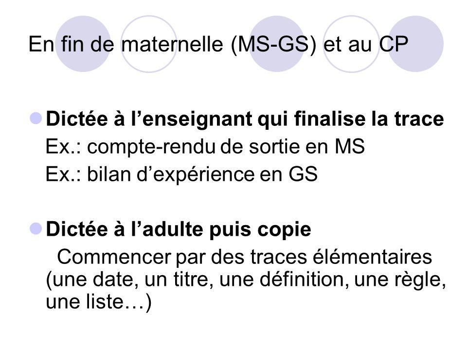 En fin de maternelle (MS-GS) et au CP
