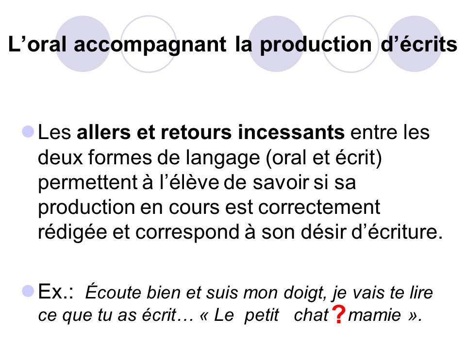 L'oral accompagnant la production d'écrits