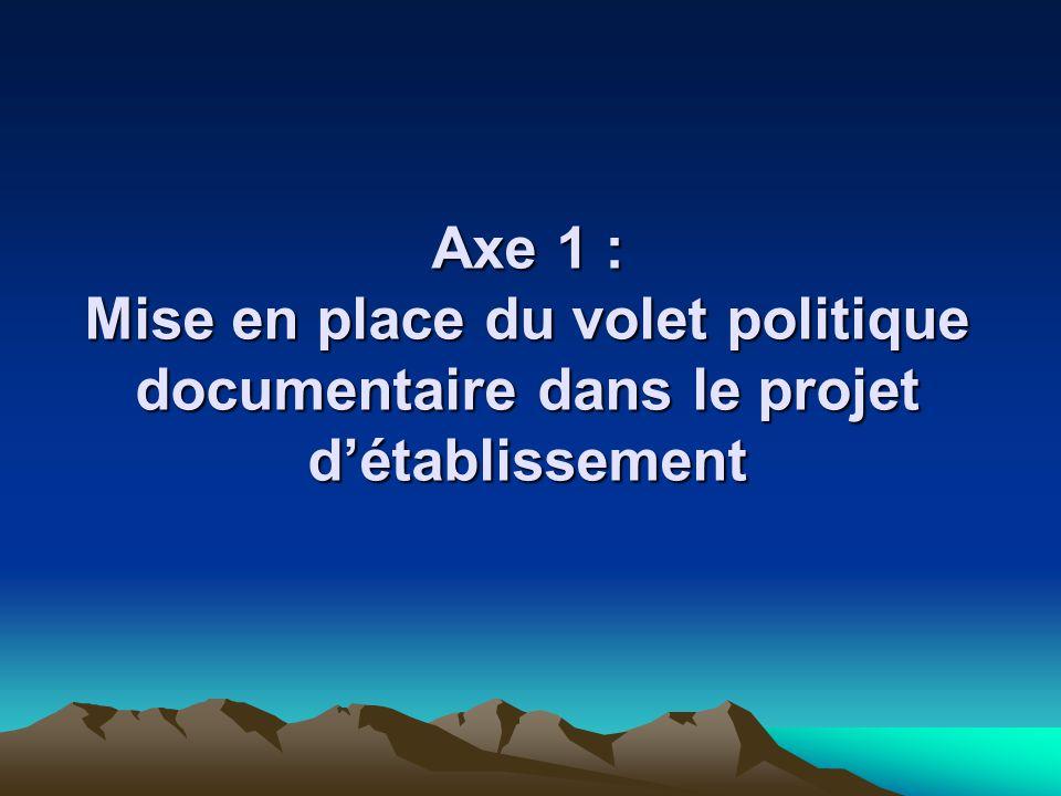 Axe 1 : Mise en place du volet politique documentaire dans le projet d'établissement