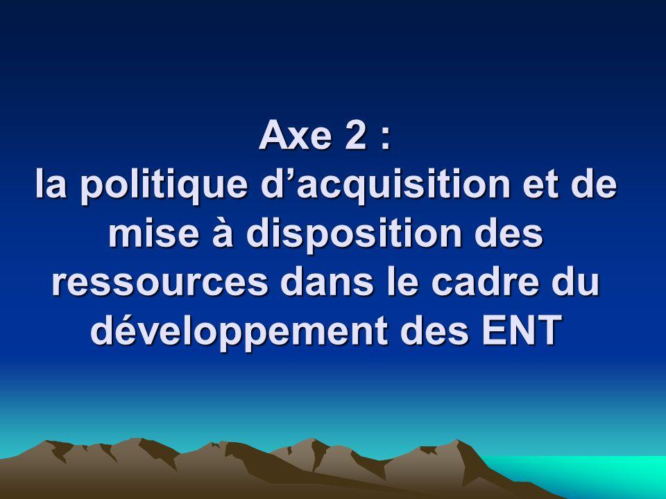 Axe 2 : la politique d'acquisition et de mise à disposition des ressources dans le cadre du développement des ENT