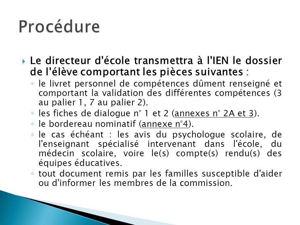 Procédure Le directeur d école transmettra à l IEN le dossier de l élève comportant les pièces suivantes :