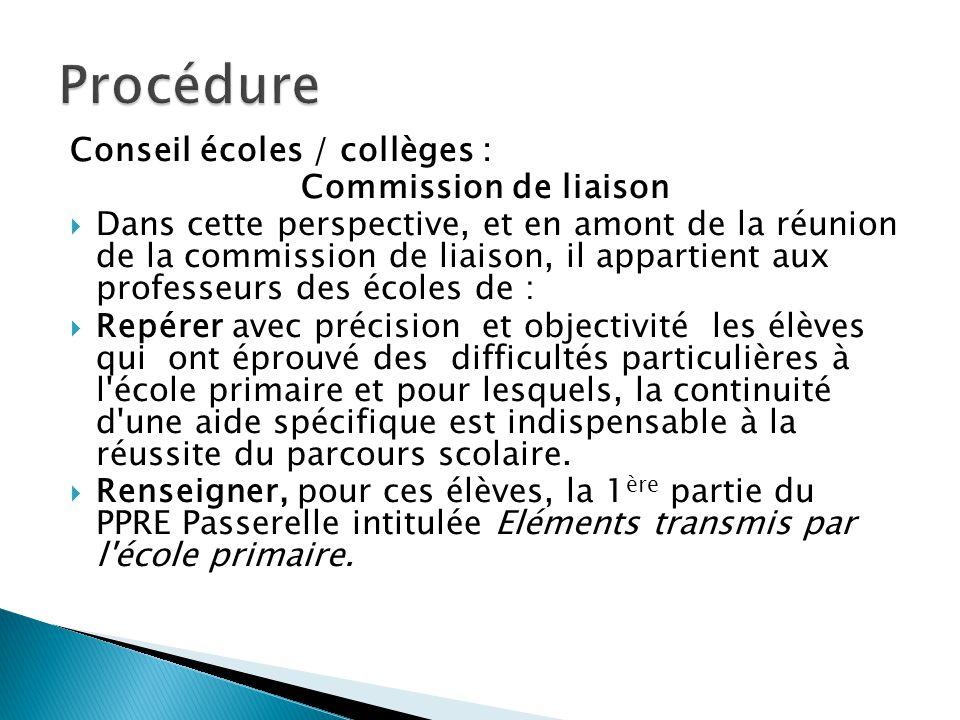 Procédure Conseil écoles / collèges : Commission de liaison
