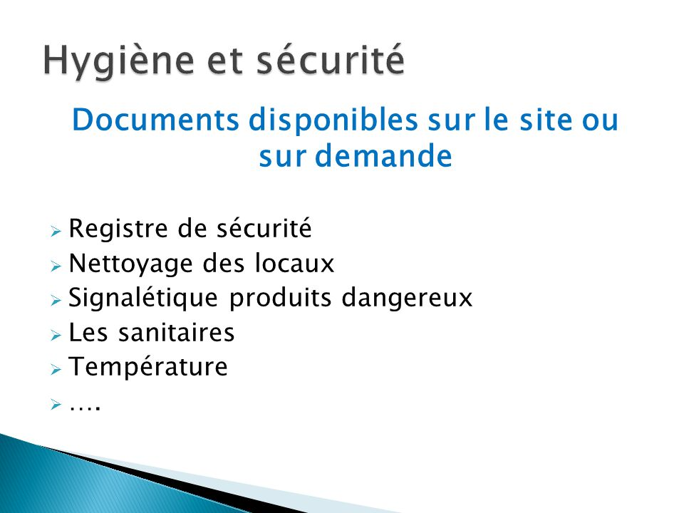 Documents disponibles sur le site ou sur demande