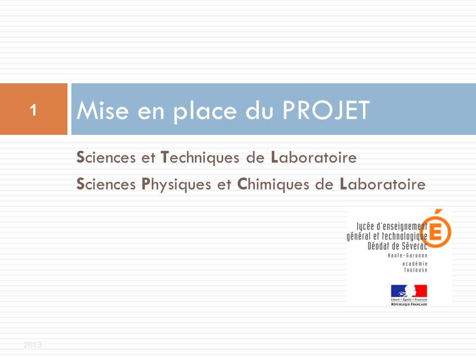 Mise en place du PROJET Sciences et Techniques de Laboratoire