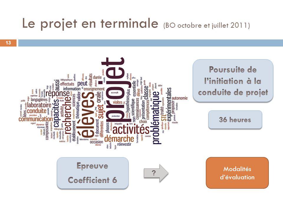 Le projet en terminale (BO octobre et juillet 2011)