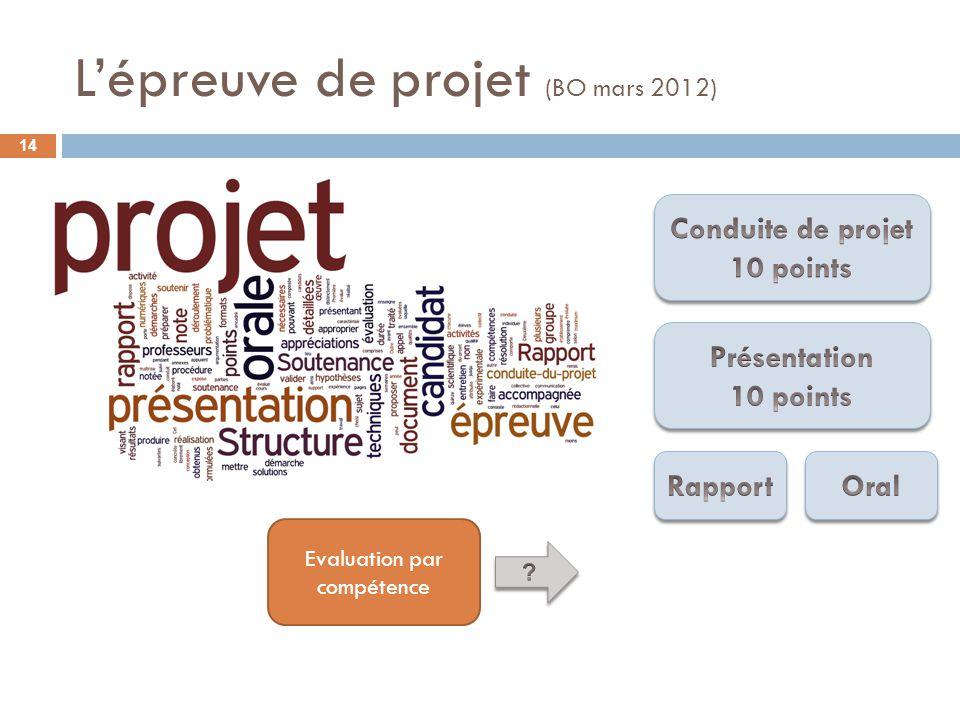 L'épreuve de projet (BO mars 2012)
