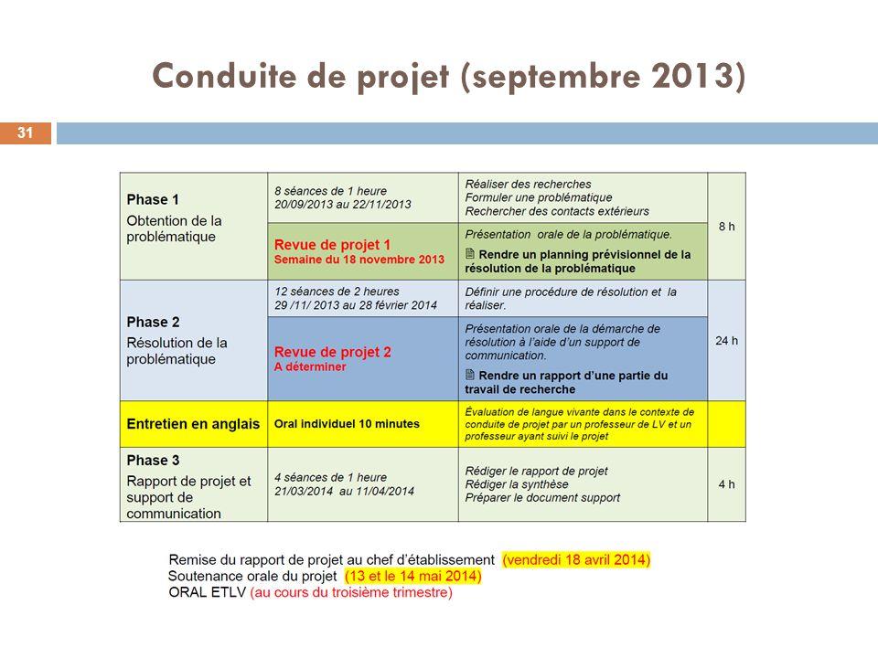 Conduite de projet (septembre 2013)