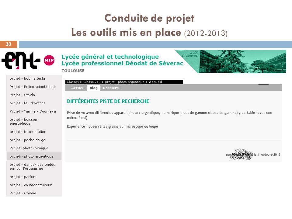 Conduite de projet Les outils mis en place (2012-2013)