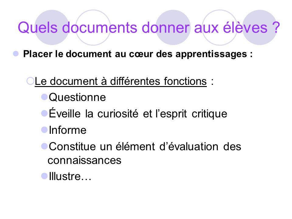 Quels documents donner aux élèves