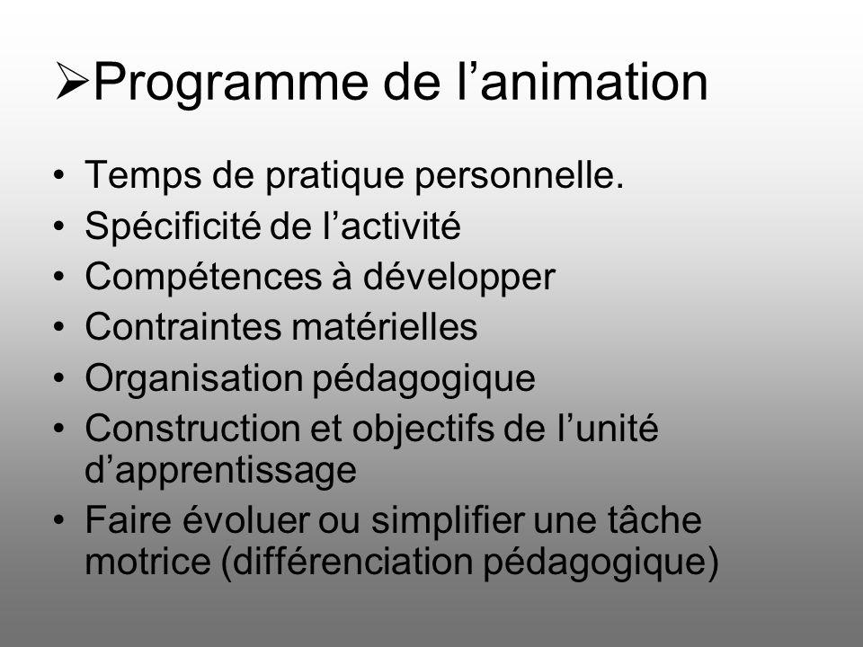 Programme de l'animation