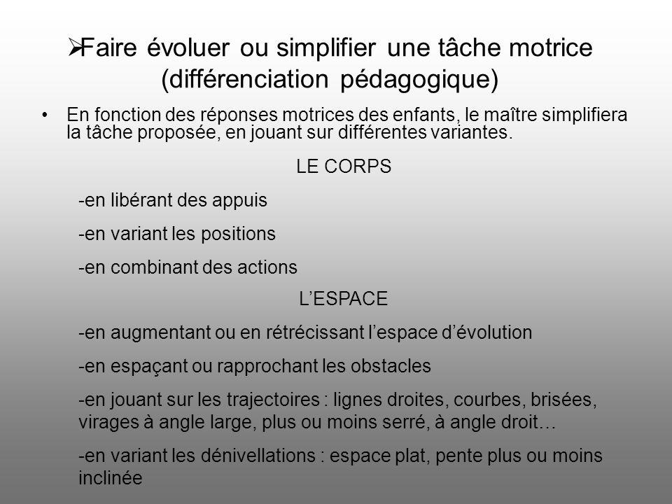 Faire évoluer ou simplifier une tâche motrice (différenciation pédagogique)