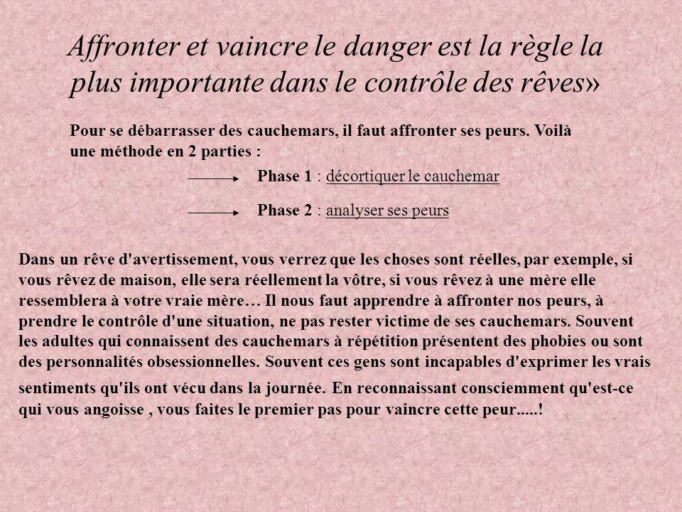 Affronter et vaincre le danger est la règle la plus importante dans le contrôle des rêves»