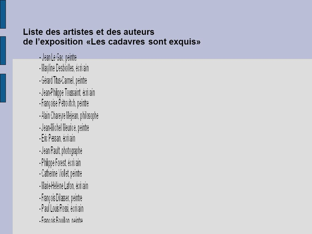 Liste des artistes et des auteurs de l'exposition «Les cadavres sont exquis»
