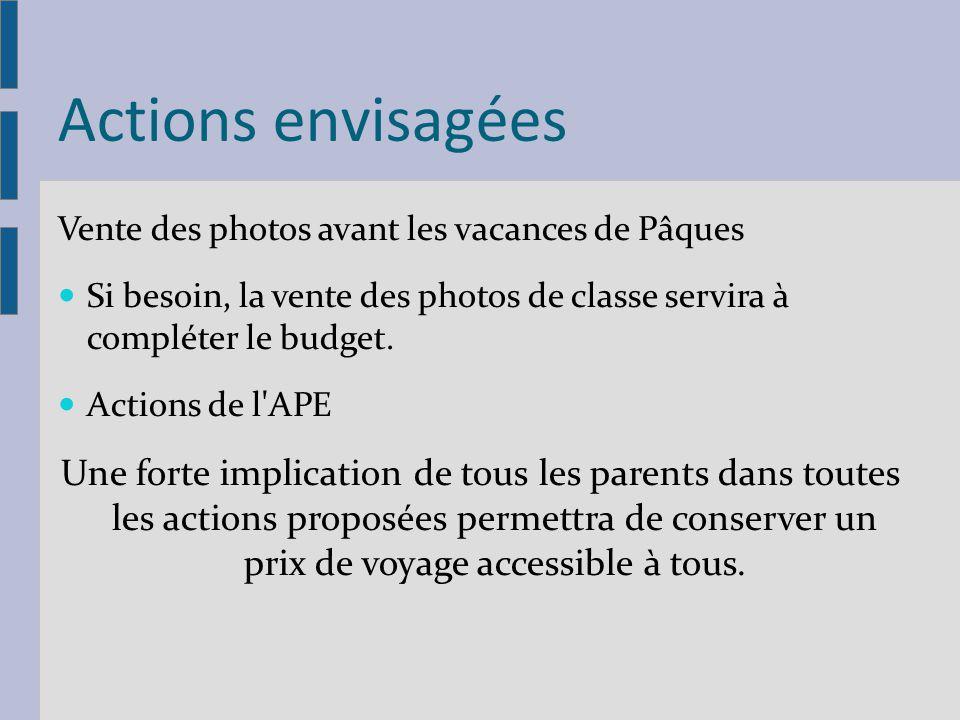 Actions envisagées Vente des photos avant les vacances de Pâques. Si besoin, la vente des photos de classe servira à compléter le budget.