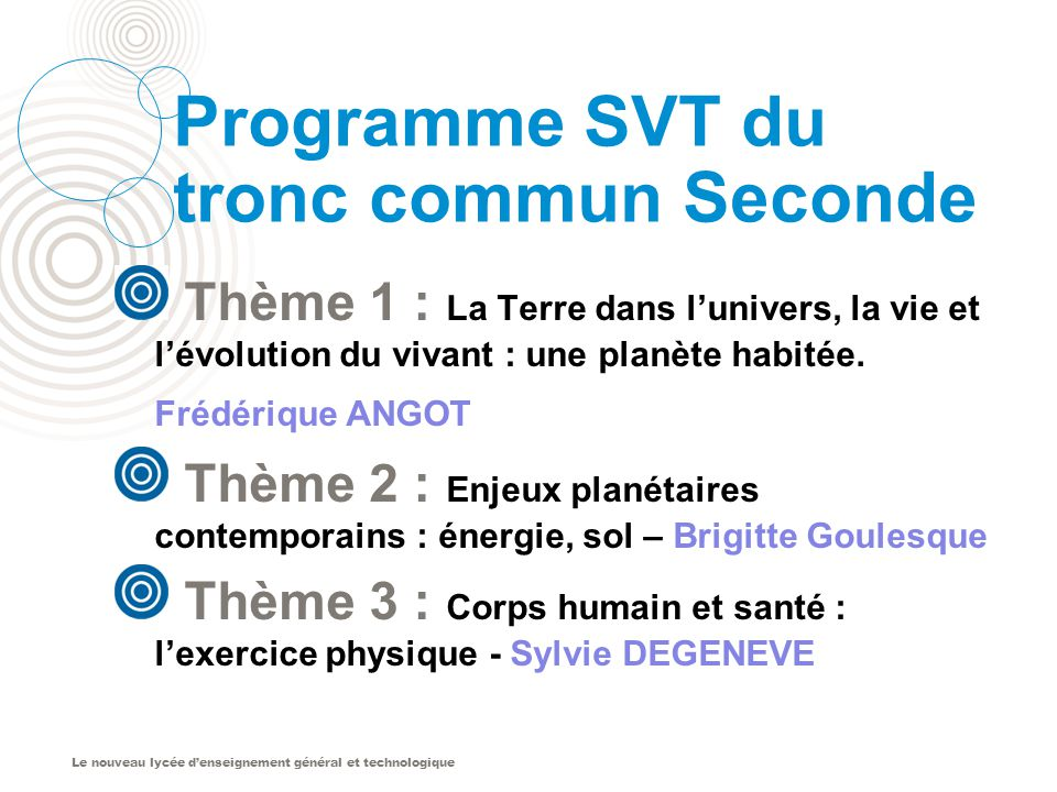 Programme SVT du tronc commun Seconde