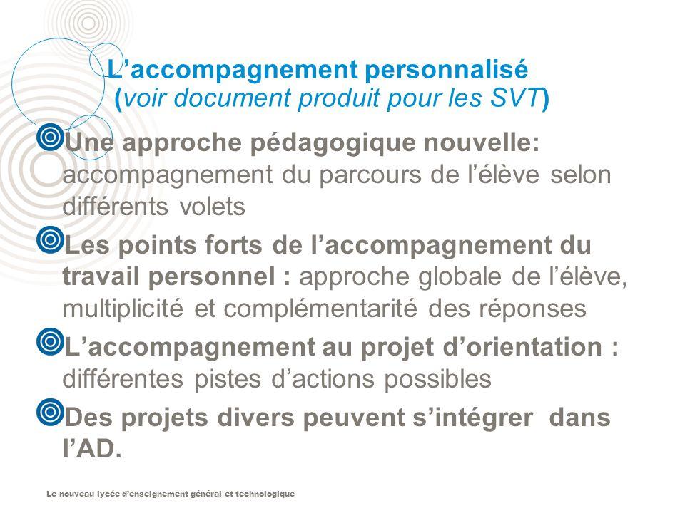 L'accompagnement personnalisé (voir document produit pour les SVT)