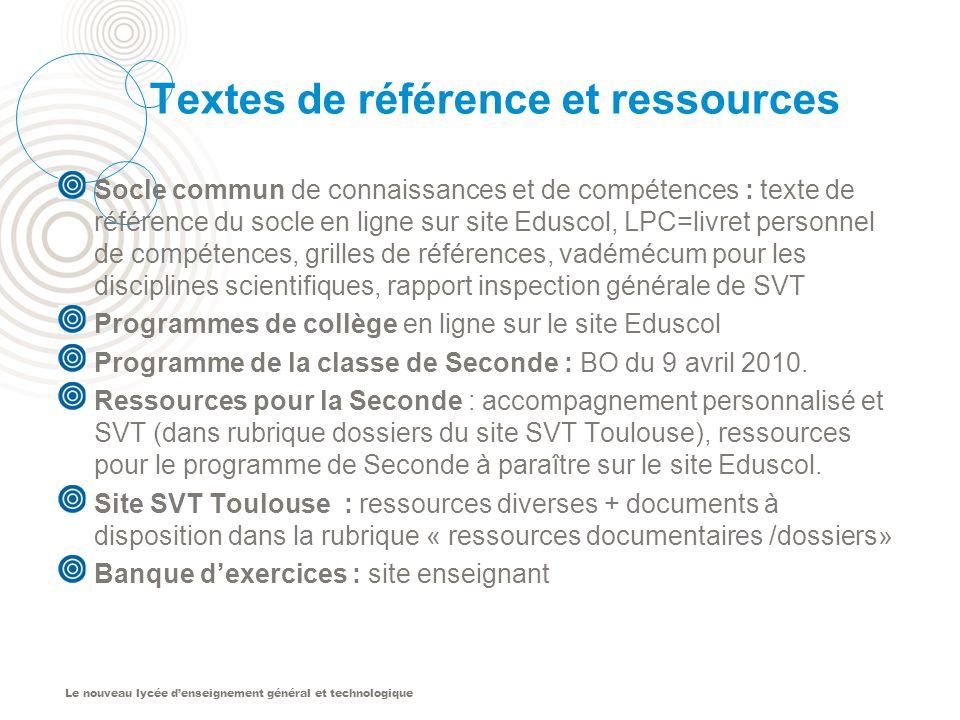 Textes de référence et ressources