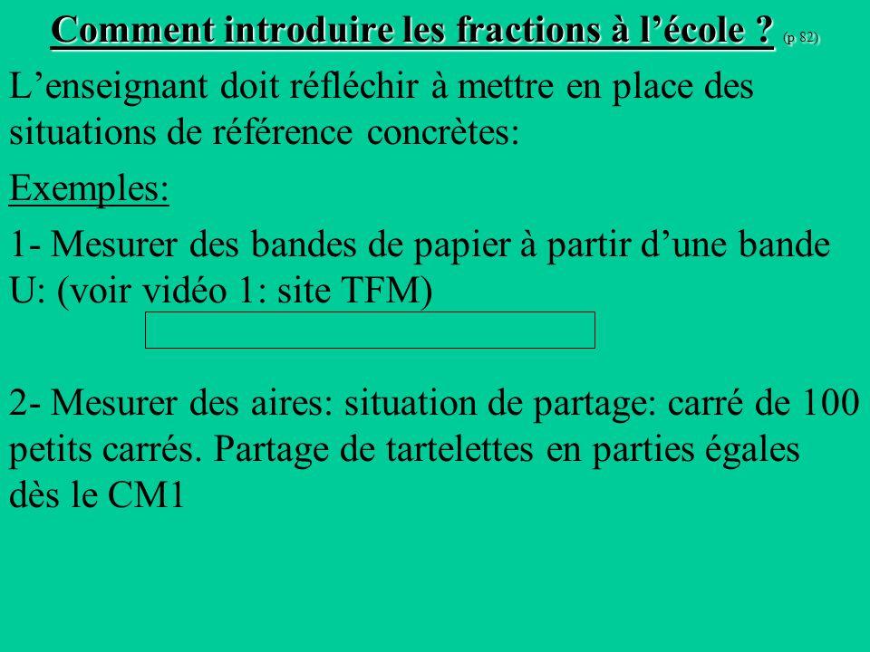 Comment introduire les fractions à l'école (p 82)