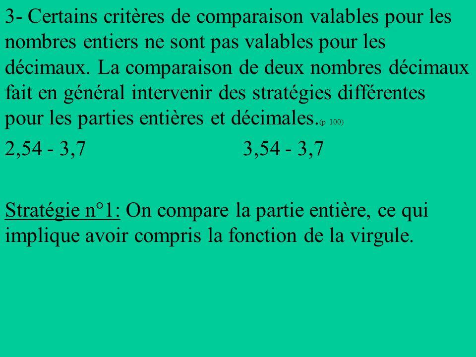 3- Certains critères de comparaison valables pour les nombres entiers ne sont pas valables pour les décimaux. La comparaison de deux nombres décimaux fait en général intervenir des stratégies différentes pour les parties entières et décimales.(p 100)