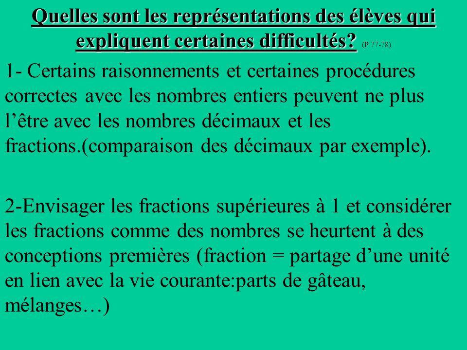 Quelles sont les représentations des élèves qui expliquent certaines difficultés (P 77-78)