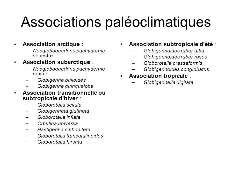 Associations paléoclimatiques