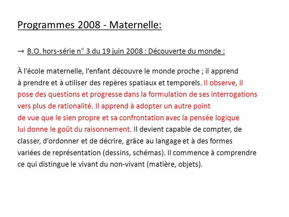Programmes 2008 - Maternelle:
