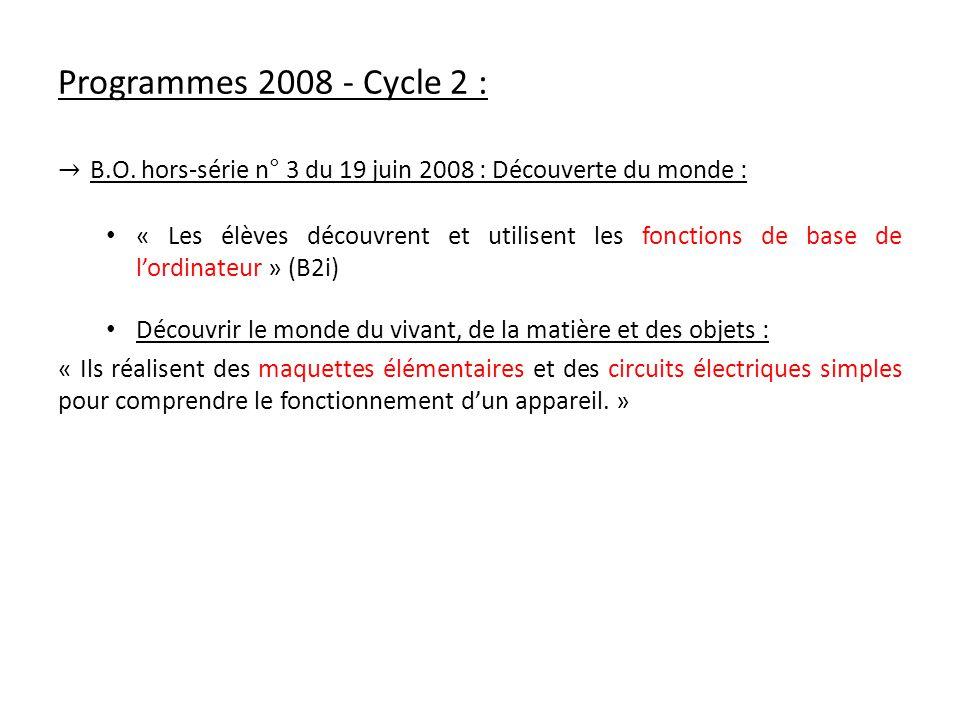 Programmes 2008 - Cycle 2 : → B.O. hors-série n° 3 du 19 juin 2008 : Découverte du monde :