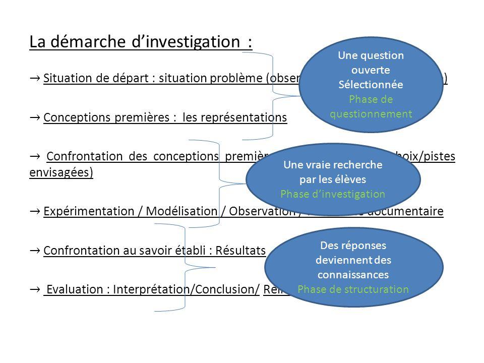 La démarche d'investigation :