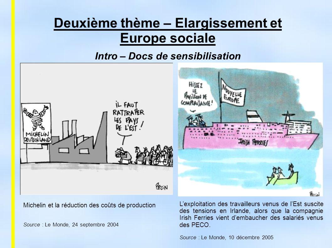 Deuxième thème – Elargissement et Europe sociale