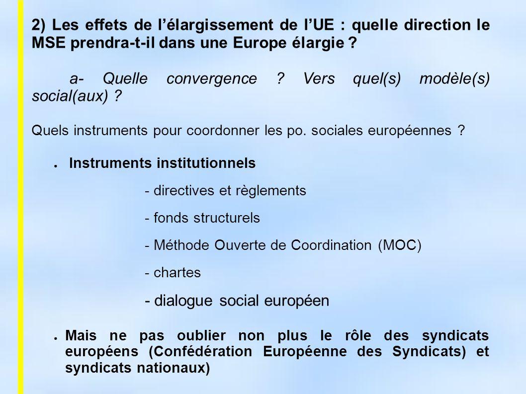 a- Quelle convergence Vers quel(s) modèle(s) social(aux)